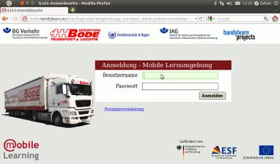 Custom start screen ot the LMS Ilias