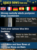 Overview page of the space-news-app with story about vega launcher and satnav business